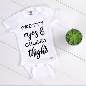 Pretty Eyes And Chubby Thighs Shower Gift Babies Girls Gerber Infant Onesies
